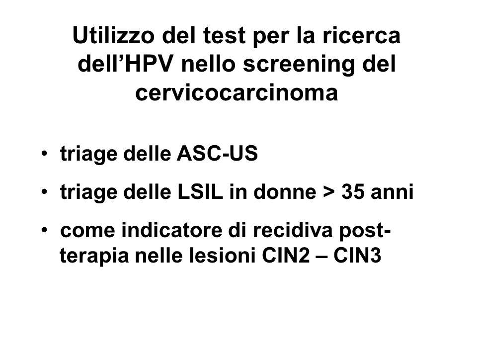 Utilizzo del test per la ricerca dellHPV nello screening del cervicocarcinoma triage delle ASC-US triage delle LSIL in donne > 35 anni come indicatore