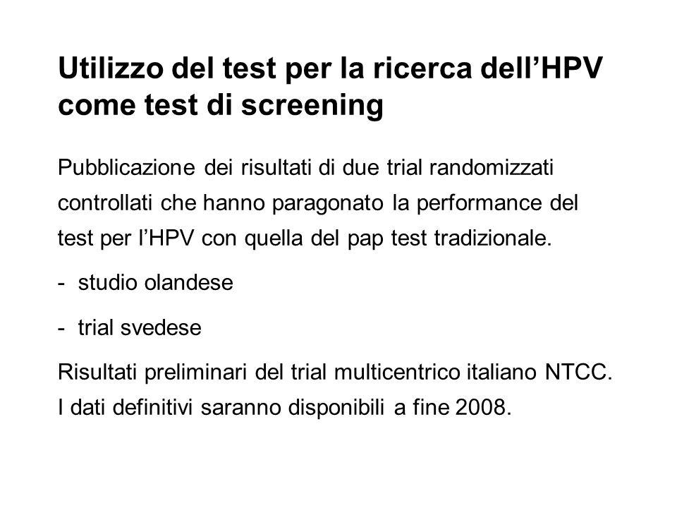Utilizzo del test per la ricerca dellHPV come test di screening Pubblicazione dei risultati di due trial randomizzati controllati che hanno paragonato