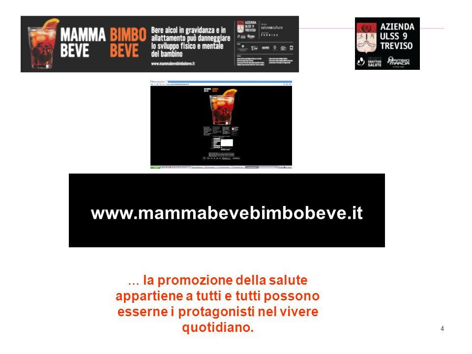 4 www.mammabevebimbobeve.it … la promozione della salute appartiene a tutti e tutti possono esserne i protagonisti nel vivere quotidiano.
