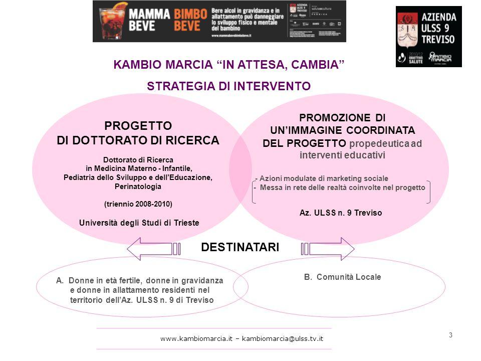 www.kambiomarcia.it – kambiomarcia@ulss.tv.it KAMBIO MARCIA IN ATTESA, CAMBIA STRATEGIA DI INTERVENTO PROGETTO DI DOTTORATO DI RICERCA Dottorato di Ricerca in Medicina Materno - Infantile, Pediatria dello Sviluppo e dellEducazione, Perinatologia (triennio 2008-2010) Università degli Studi di Trieste A.