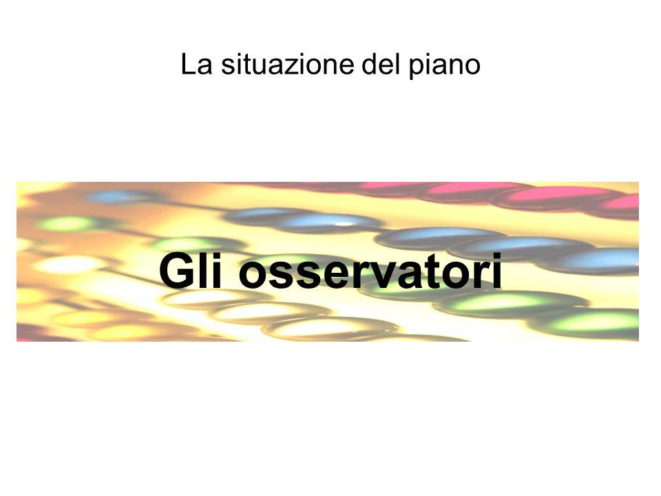 La situazione del piano Gli osservatori