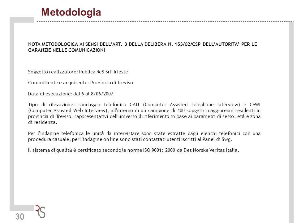 30 Metodologia NOTA METODOLOGICA AI SENSI DELL ART. 3 DELLA DELIBERA N. 153/02/CSP DELL AUTORITA PER LE GARANZIE NELLE COMUNICAZIONI Soggetto realizza