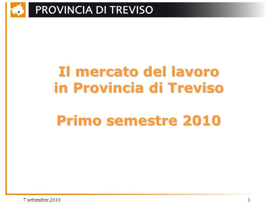 7 settembre 20101 Il mercato del lavoro in Provincia di Treviso Primo semestre 2010
