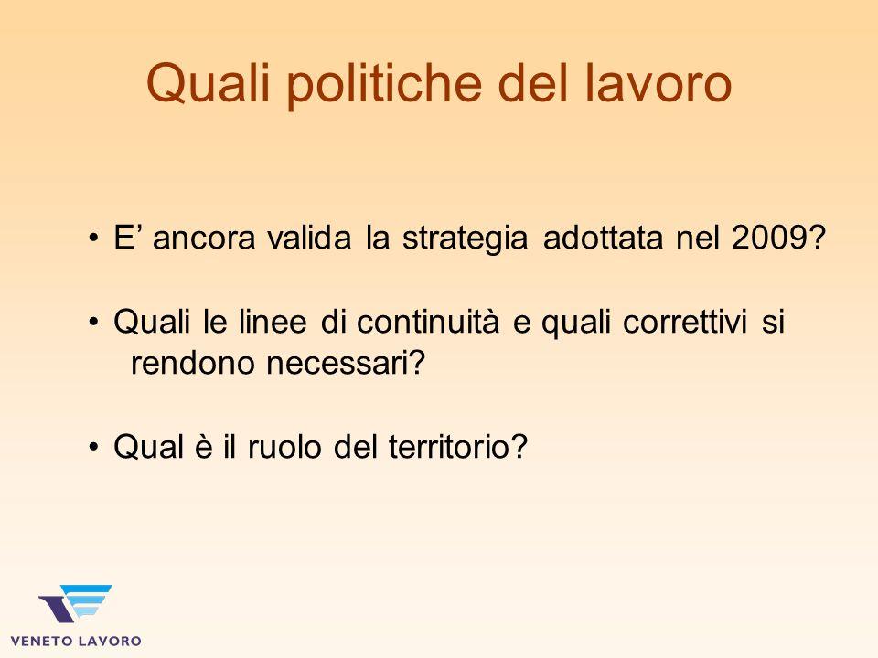 Quali politiche del lavoro E ancora valida la strategia adottata nel 2009.
