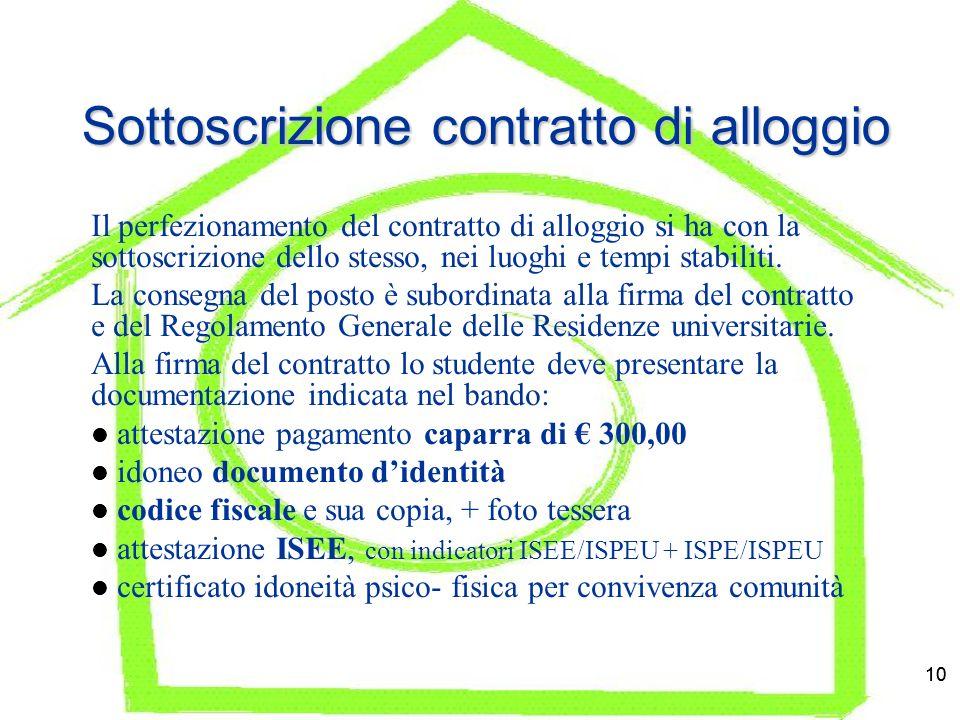 10 Sottoscrizione contratto di alloggio Il perfezionamento del contratto di alloggio si ha con la sottoscrizione dello stesso, nei luoghi e tempi stabiliti.