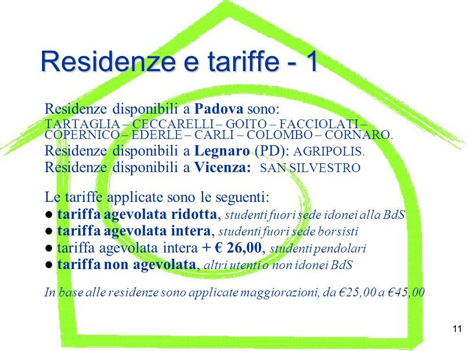 11 Residenze e tariffe - 1 Residenze disponibili a Padova sono: TARTAGLIA – CECCARELLI – GOITO – FACCIOLATI – COPERNICO – EDERLE – CARLI – COLOMBO – CORNARO.