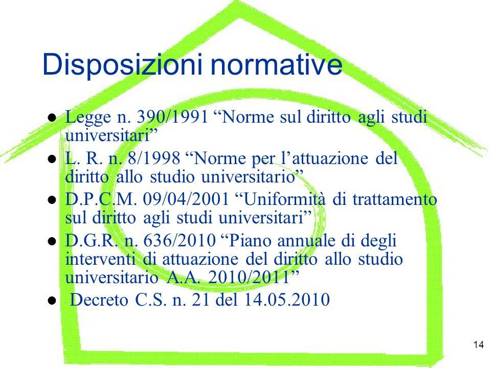 14 Disposizioni normative Legge n.390/1991 Norme sul diritto agli studi universitari L.