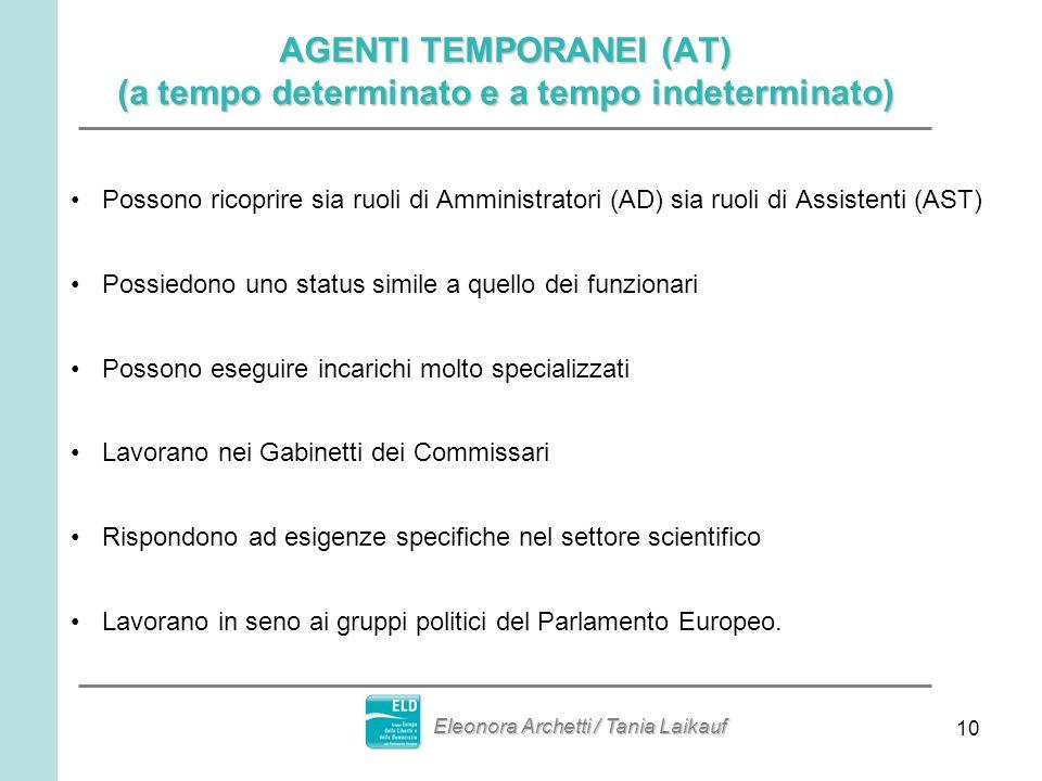 10 AGENTI TEMPORANEI (AT) (a tempo determinato e a tempo indeterminato) Possono ricoprire sia ruoli di Amministratori (AD) sia ruoli di Assistenti (AS