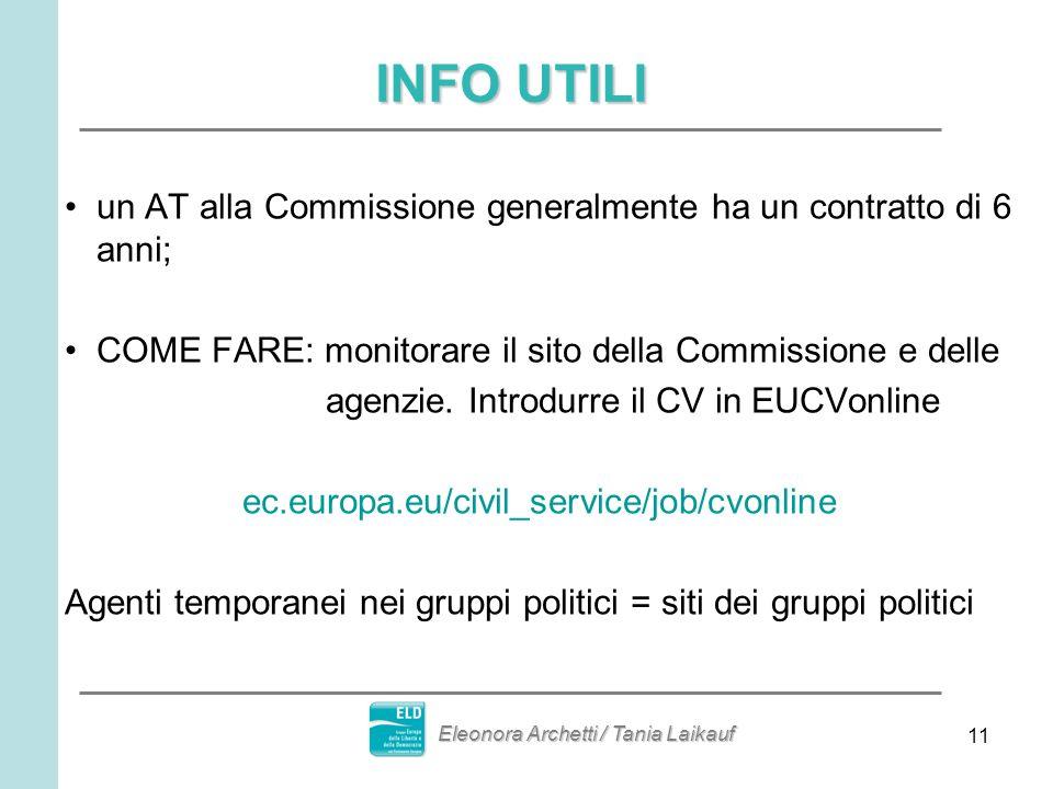 11 INFO UTILI un AT alla Commissione generalmente ha un contratto di 6 anni; COME FARE: monitorare il sito della Commissione e delle agenzie.