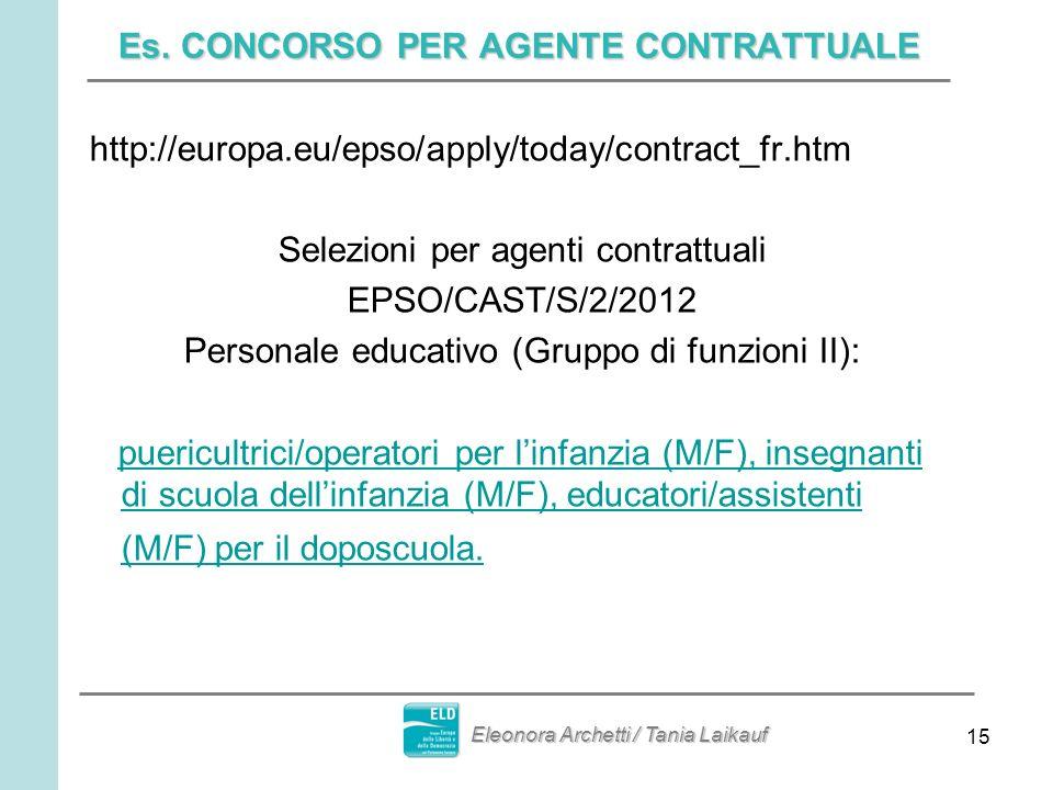 15 Es. CONCORSO PER AGENTE CONTRATTUALE http://europa.eu/epso/apply/today/contract_fr.htm Selezioni per agenti contrattuali EPSO/CAST/S/2/2012 Persona