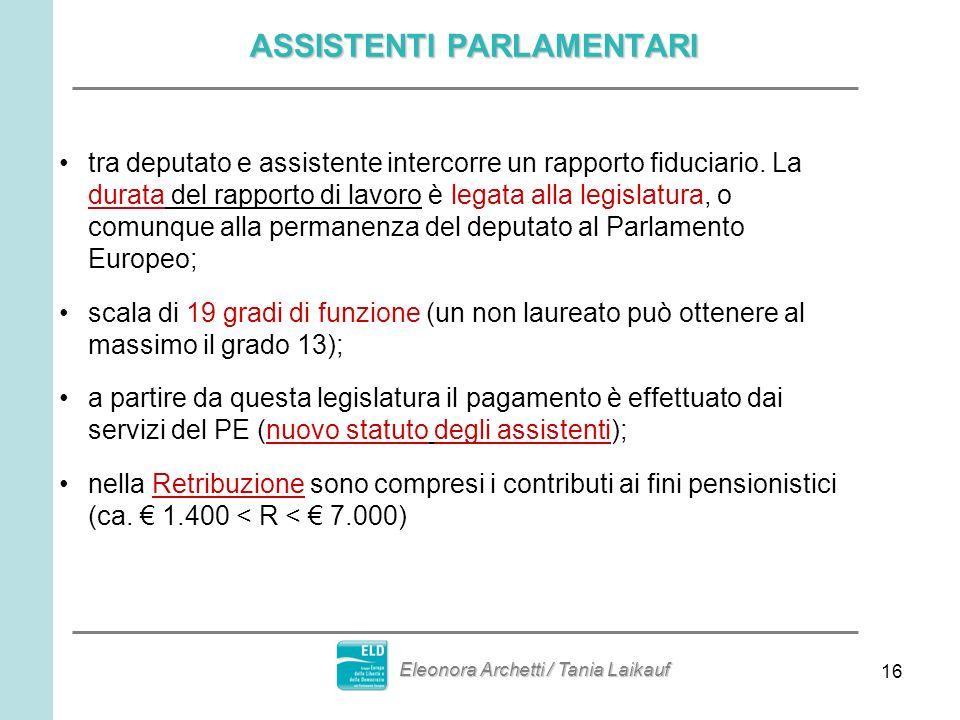 16 ASSISTENTI PARLAMENTARI tra deputato e assistente intercorre un rapporto fiduciario. La durata del rapporto di lavoro è legata alla legislatura, o
