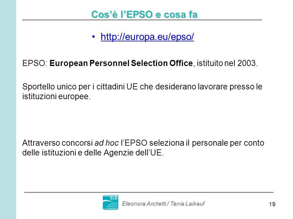 19 Cosè lEPSO e cosa fa http://europa.eu/epso/ EPSO: European Personnel Selection Office, istituito nel 2003. Sportello unico per i cittadini UE che d