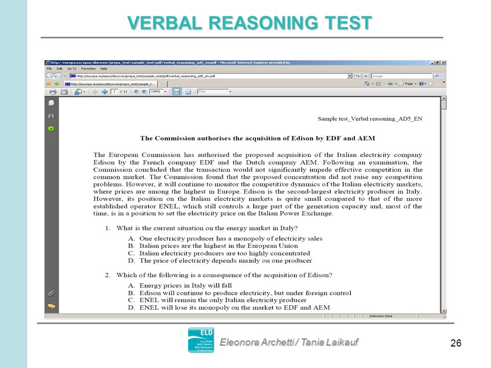 26 VERBAL REASONING TEST Eleonora Archetti / Tania Laikauf