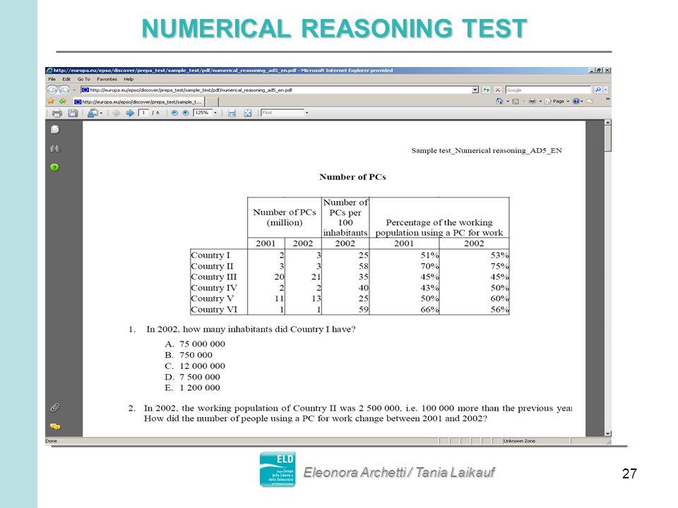 27 NUMERICAL REASONING TEST Eleonora Archetti / Tania Laikauf