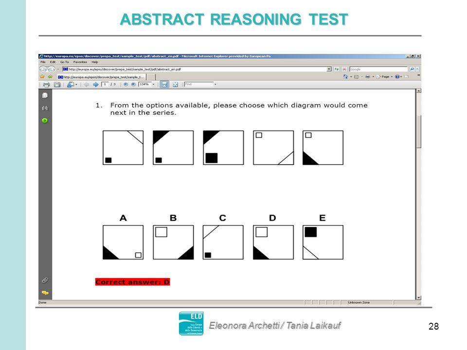 28 ABSTRACT REASONING TEST Eleonora Archetti / Tania Laikauf