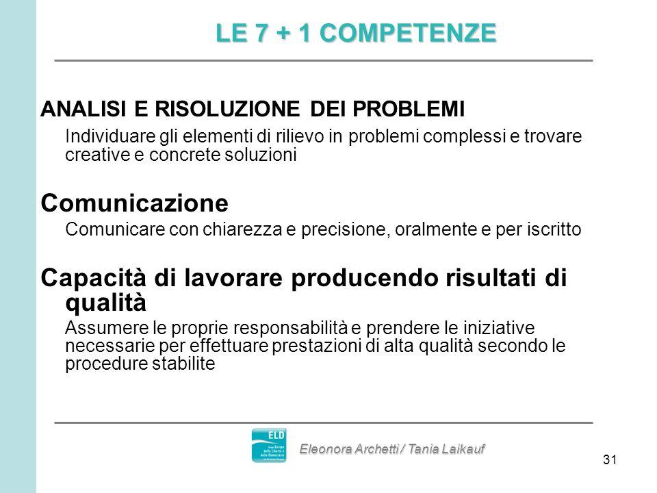 31 ANALISI E RISOLUZIONE DEI PROBLEMI Individuare gli elementi di rilievo in problemi complessi e trovare creative e concrete soluzioni Comunicazione