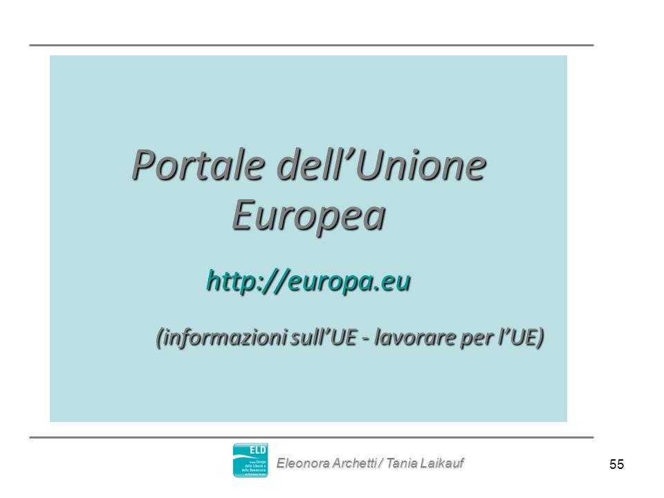55 Portale dellUnione Europea http://europa.eu (informazioni sullUE - lavorare per lUE) (informazioni sullUE - lavorare per lUE) Eleonora Archetti / T