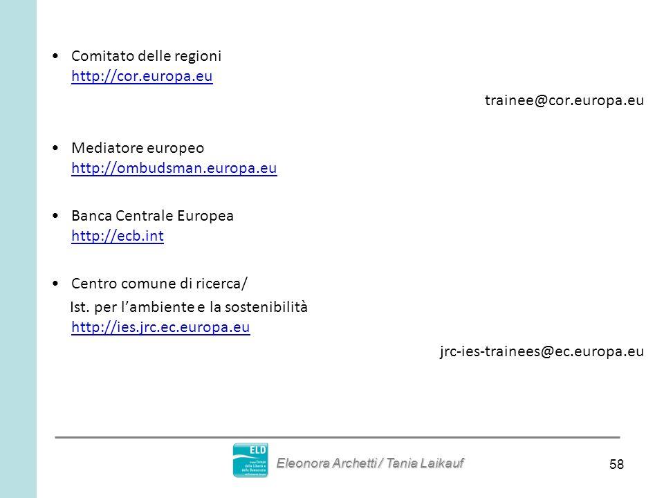 58 Comitato delle regioni http://cor.europa.eu trainee@cor.europa.eu Mediatore europeo http://ombudsman.europa.eu Banca Centrale Europea http://ecb.int Centro comune di ricerca/ Ist.