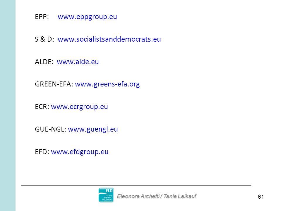61 EPP: www.eppgroup.eu S & D: www.socialistsanddemocrats.eu ALDE: www.alde.eu GREEN-EFA: www.greens-efa.org ECR: www.ecrgroup.eu GUE-NGL: www.guengl.eu EFD: www.efdgroup.eu Eleonora Archetti / Tania Laikauf