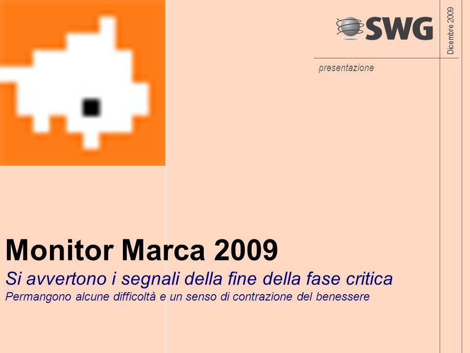 presentazione Monitor Marca 2009 Si avvertono i segnali della fine della fase critica Permangono alcune difficoltà e un senso di contrazione del benessere Dicembre 2009