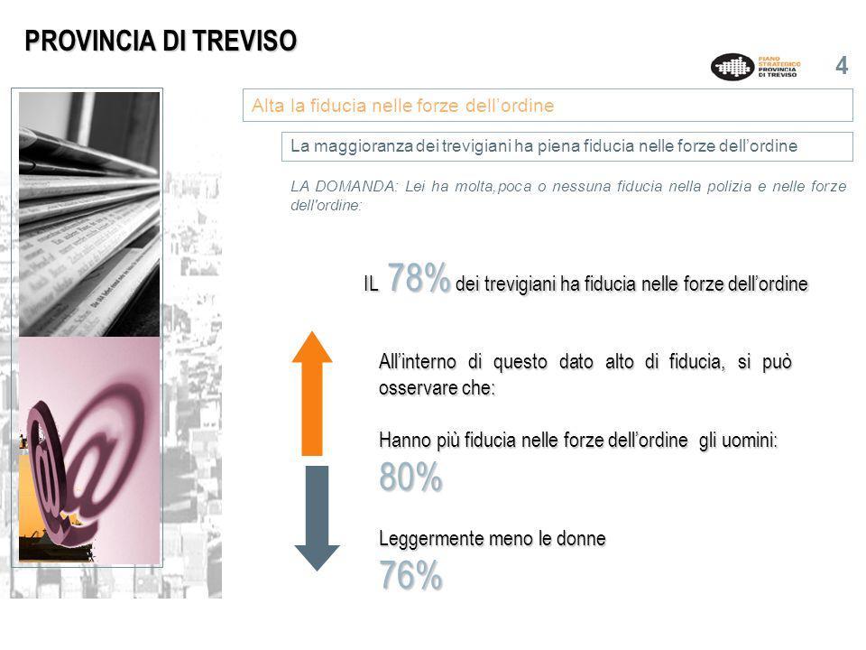 5 LA DOMANDA: Rispetto a 10 anni fa, secondo Lei, i cittadini ella Provinvia di Treviso si sentono più uniti o divisi.