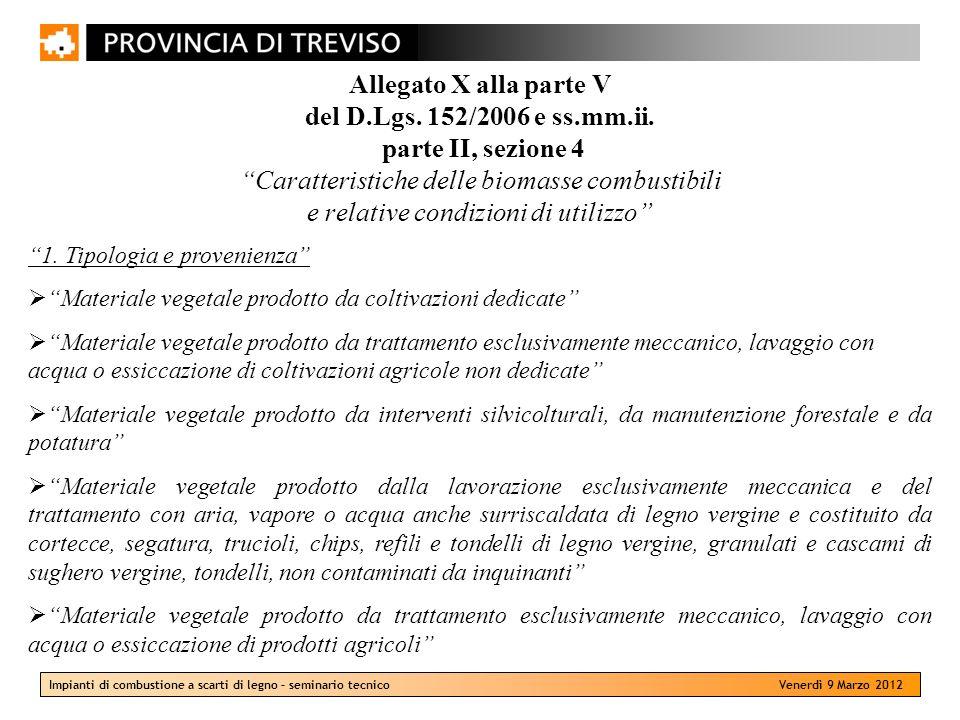Impianti di combustione a scarti di legno – seminario tecnico Venerdì 9 Marzo 2012 Allegato X alla parte V del D.Lgs. 152/2006 e ss.mm.ii. parte II, s