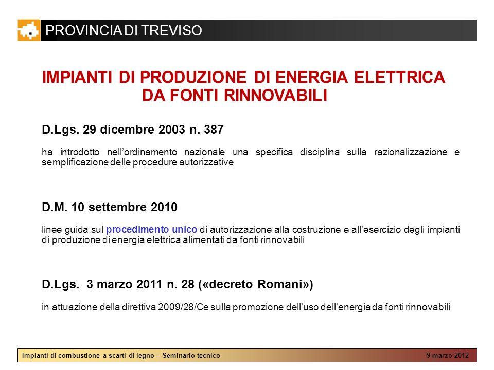 PROVINCIA DI TREVISO Impianti di combustione a scarti di legno – Seminario tecnico 9 marzo 2012 IMPIANTI DI PRODUZIONE DI ENERGIA ELETTRICA DA FONTI R