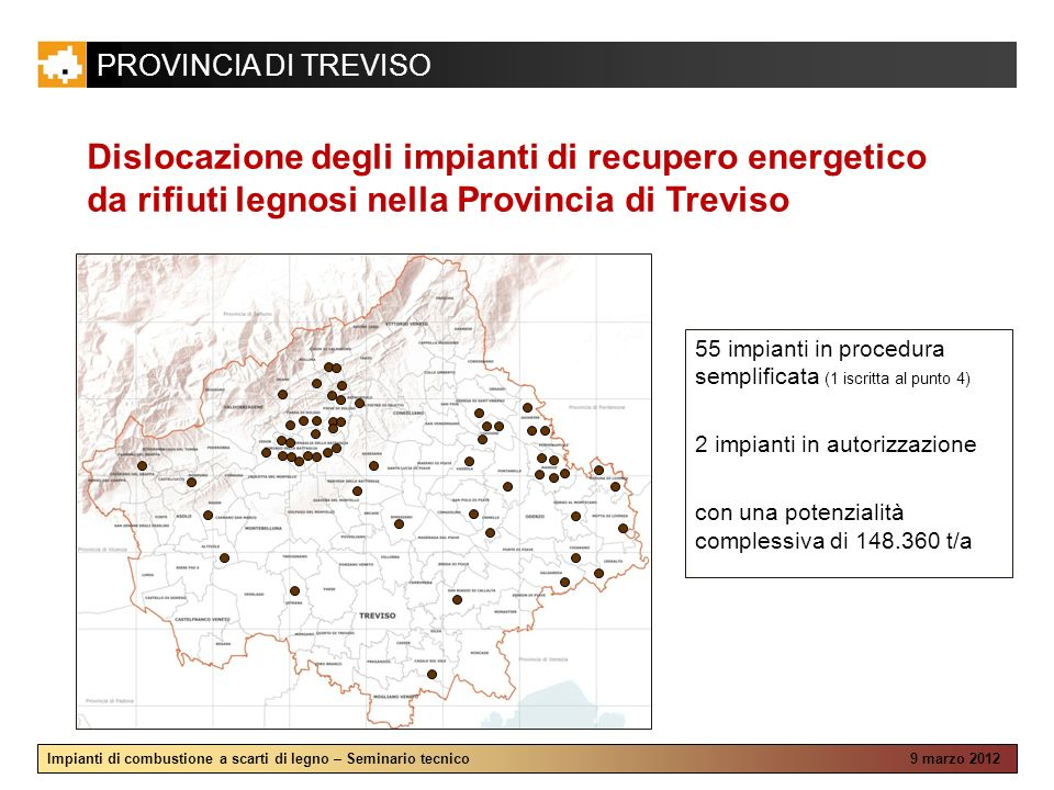 PROVINCIA DI TREVISO Impianti di combustione a scarti di legno – Seminario tecnico 9 marzo 2012 Dislocazione degli impianti di recupero energetico da