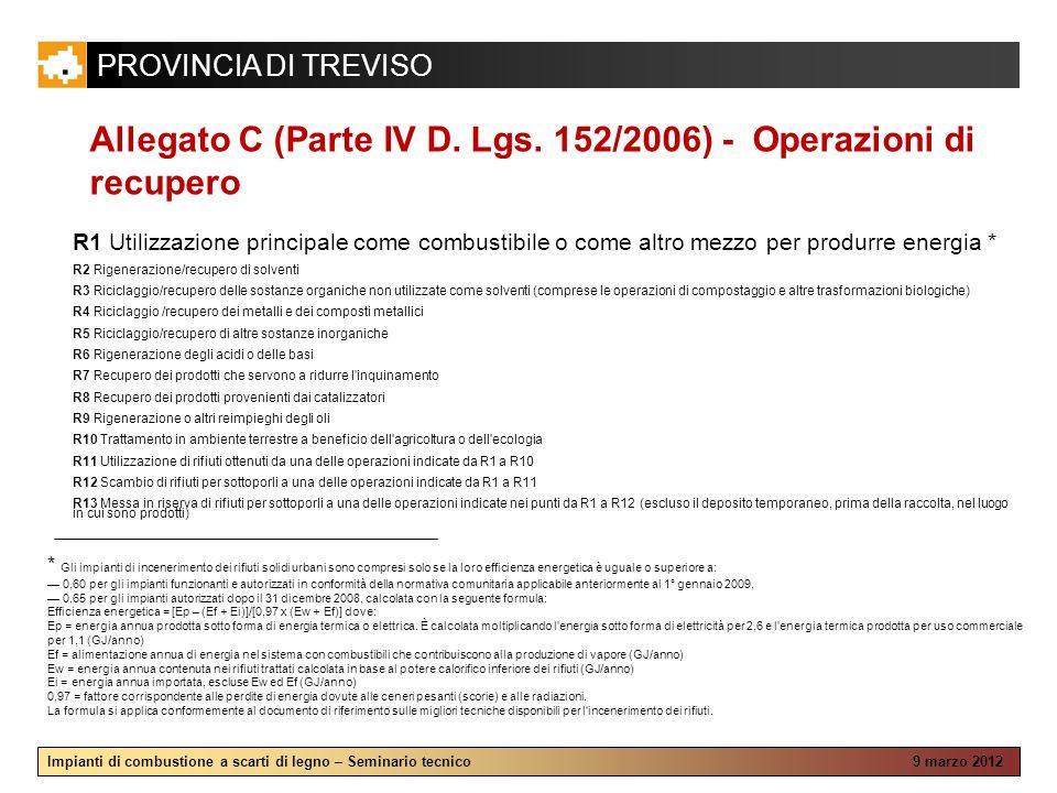 PROVINCIA DI TREVISO Impianti di combustione a scarti di legno – Seminario tecnico 9 marzo 2012 Allegato C (Parte IV D. Lgs. 152/2006) - Operazioni di