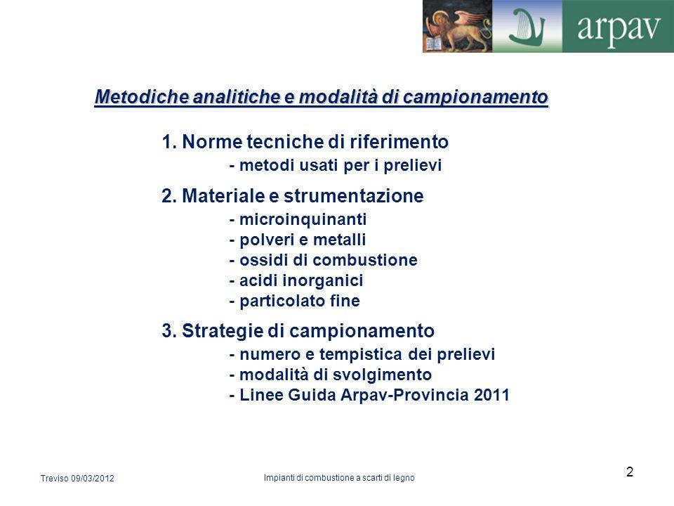 Metodiche analitiche e modalità di campionamento Metodiche analitiche e modalità di campionamento 1. Norme tecniche di riferimento - metodi usati per