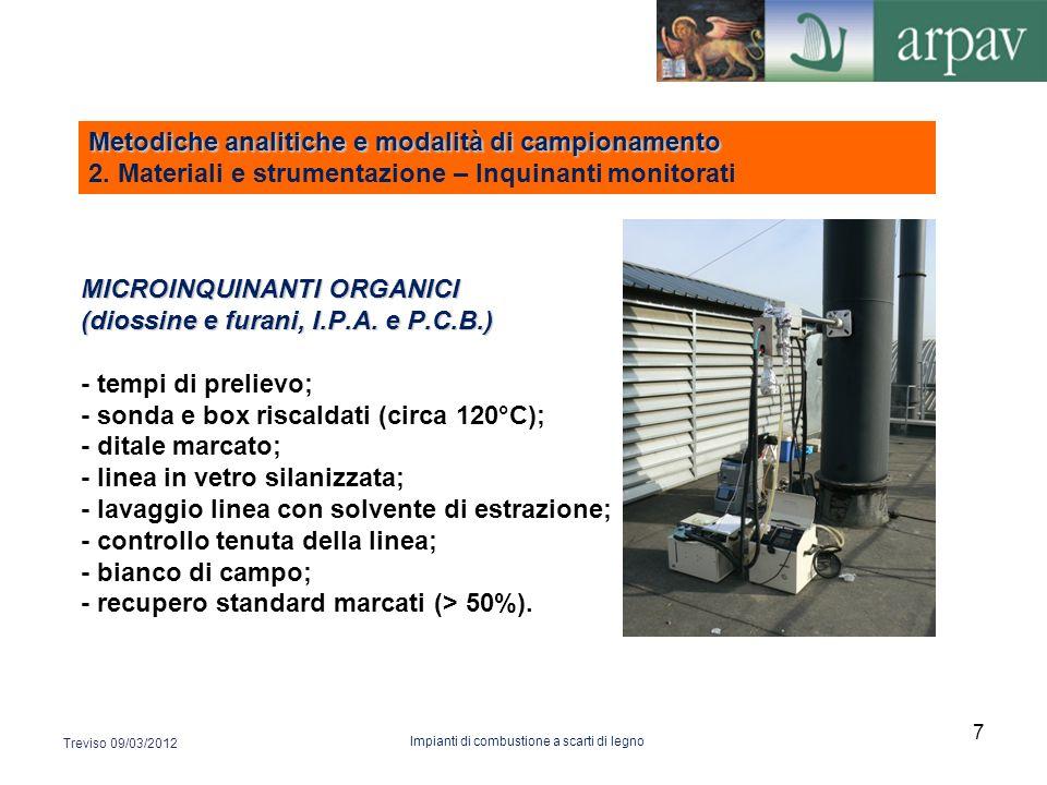 MICROINQUINANTI ORGANICI (diossine e furani, I.P.A. e P.C.B.) MICROINQUINANTI ORGANICI (diossine e furani, I.P.A. e P.C.B.) - tempi di prelievo; - son