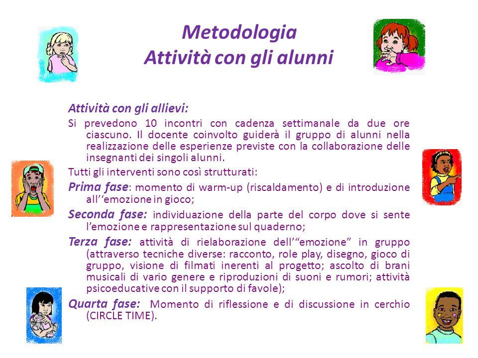 Metodologia Attività con gli alunni Attività con gli allievi: Si prevedono 10 incontri con cadenza settimanale da due ore ciascuno. Il docente coinvol
