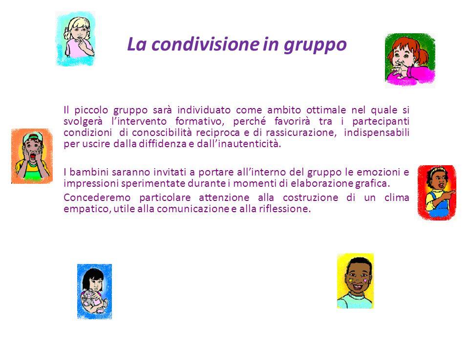 La condivisione in gruppo Il piccolo gruppo sarà individuato come ambito ottimale nel quale si svolgerà lintervento formativo, perché favorirà tra i p