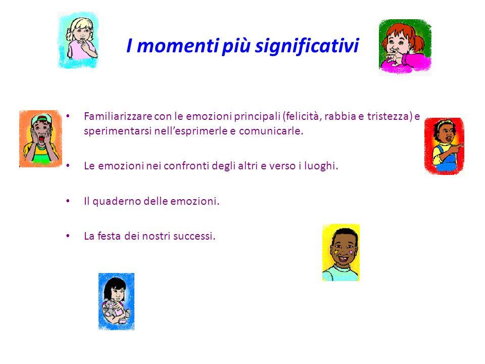 I momenti più significativi Familiarizzare con le emozioni principali (felicità, rabbia e tristezza) e sperimentarsi nellesprimerle e comunicarle. Le