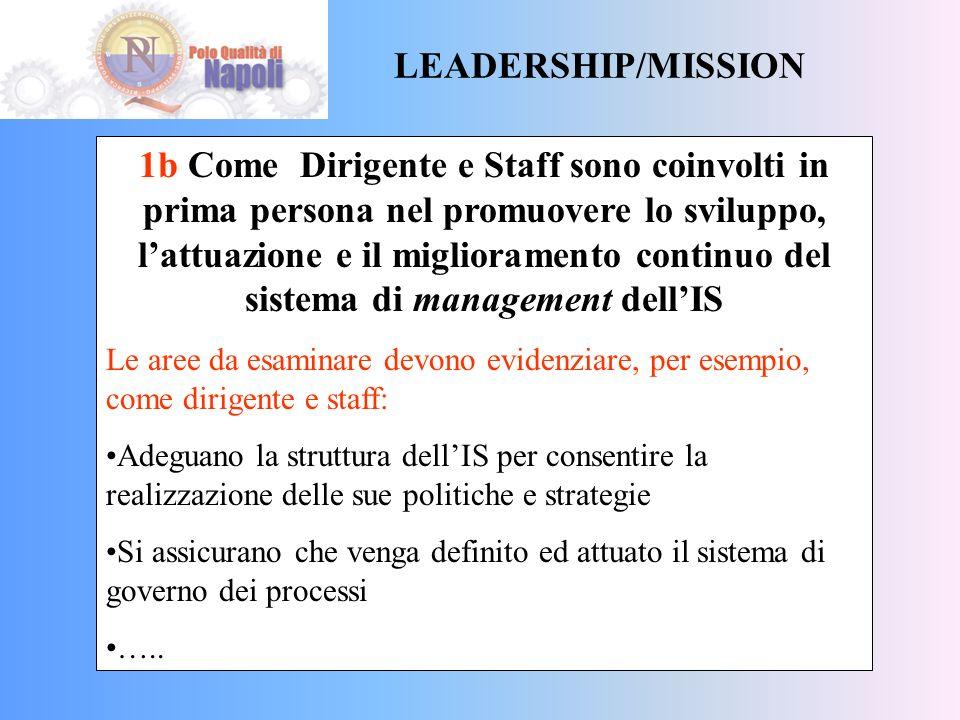 LEADERSHIP/MISSION 1a Come Dirigente e Staff definiscono la missione, la visione e i valori dellIS Le aree da esaminare devono evidenziare, per esempi