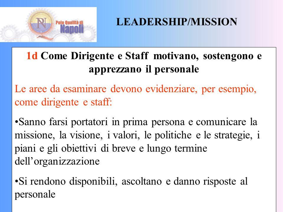 LEADERSHIP/MISSION 1c Come Dirigente e Staff sono coinvolti con utenti, fornitori e rappresentanti della società esterna Le aree da esaminare devono e