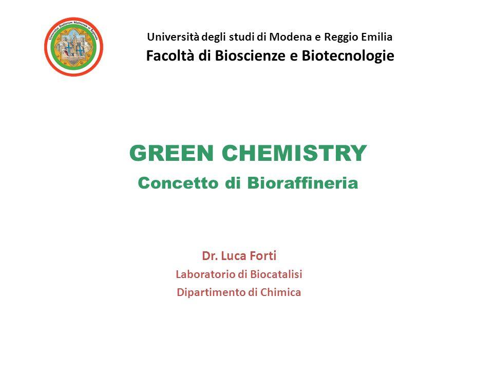 GREEN CHEMISTRY Concetto di Bioraffineria Dr. Luca Forti Laboratorio di Biocatalisi Dipartimento di Chimica Università degli studi di Modena e Reggio