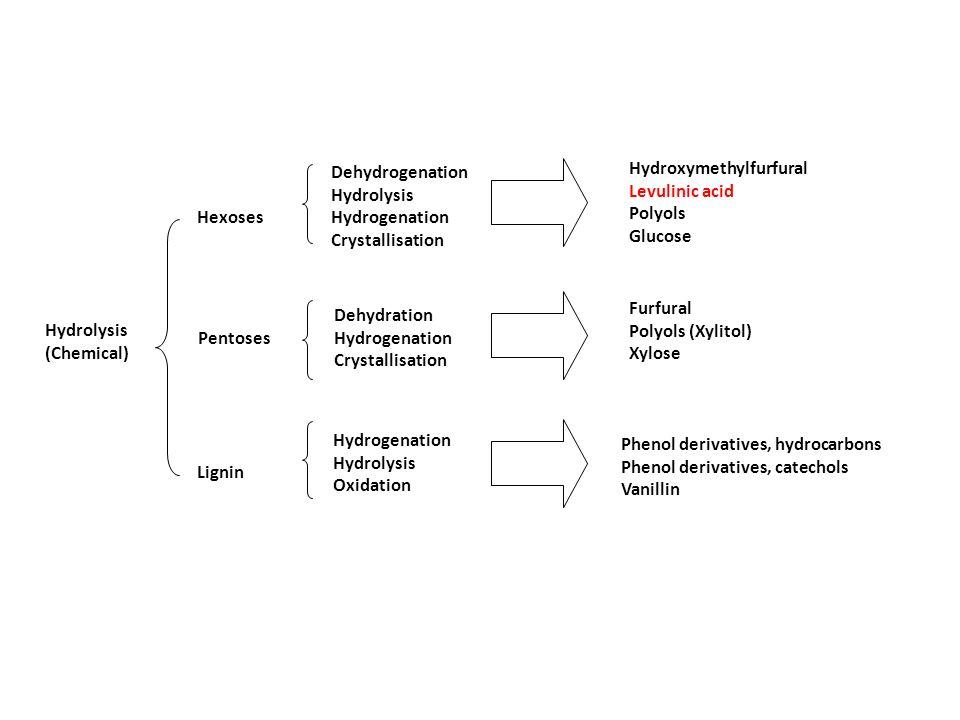 Hydrolysis (Chemical) Hexoses Pentoses Lignin Dehydrogenation Hydrolysis Hydrogenation Crystallisation Dehydration Hydrogenation Crystallisation Hydro