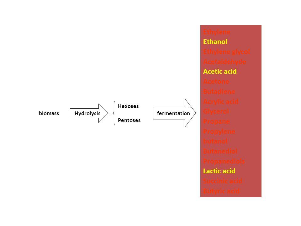 biomass Hydrolysis Hexoses Pentoses fermentation Ethylene Ethanol Ethylene glycol Acetaldehyde Acetic acid Acetone Butadiene Acrylic acid Glycerol Pro