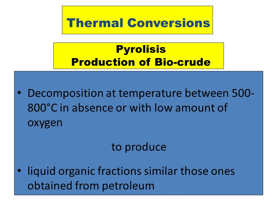 Pyrolisis Production of Bio-crude Decomposition at temperature between 500- 800°C in absence or with low amount of oxygen to produce liquid organic fractions similar those ones obtained from petroleum Thermal Conversions