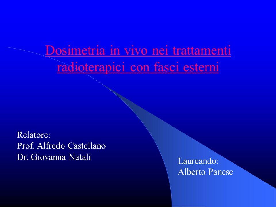 Dosimetria in vivo nei trattamenti radioterapici con fasci esterni Relatore: Prof.