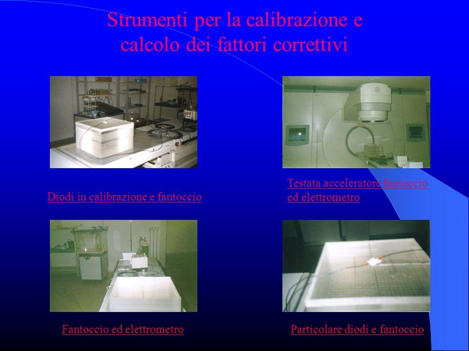 Strumenti per la calibrazione e calcolo dei fattori correttivi Diodi in calibrazione e fantoccio Testata acceleratore fantoccio ed elettrometro Fantoccio ed elettrometroParticolare diodi e fantoccio
