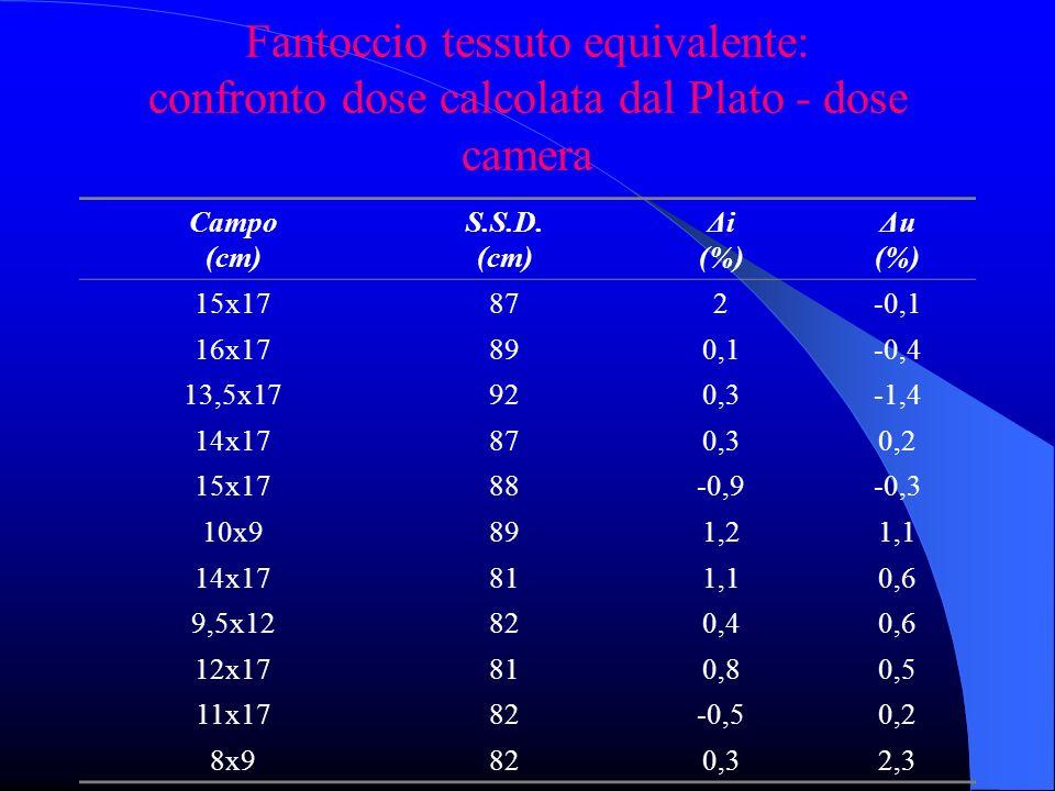 Fantoccio tessuto equivalente: confronto dose calcolata dal Plato - dose camera Campo (cm) S.S.D.