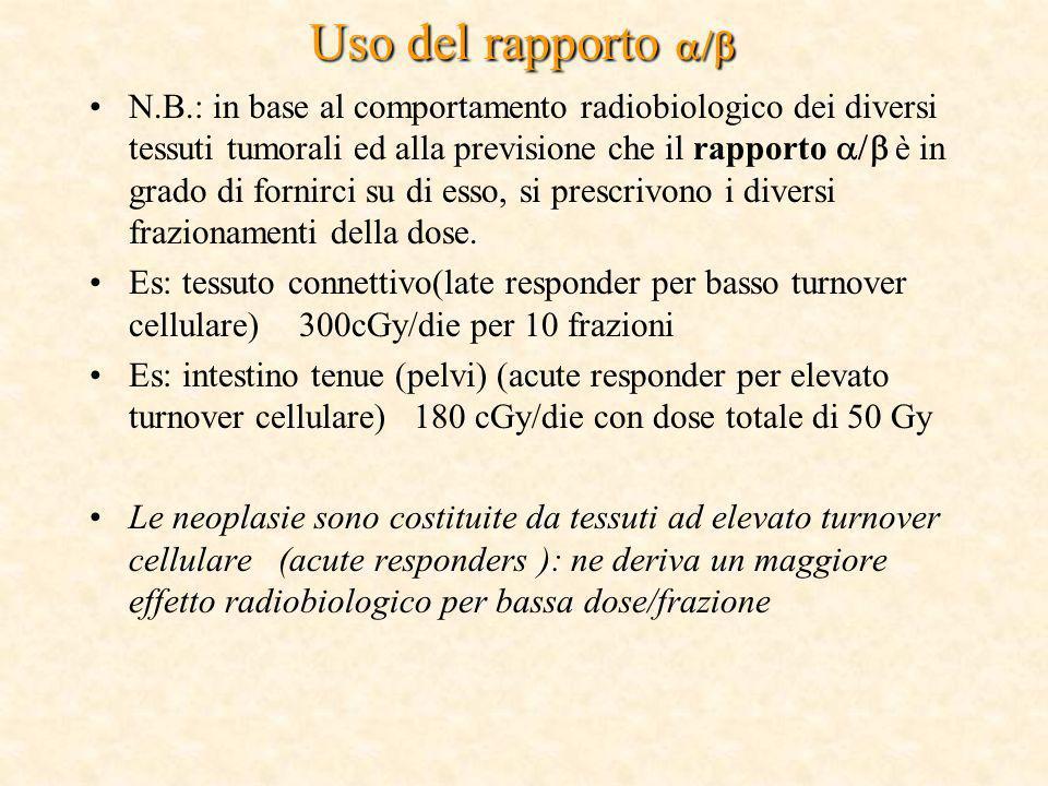 Uso del rapporto Uso del rapporto N.B.: in base al comportamento radiobiologico dei diversi tessuti tumorali ed alla previsione che il rapporto è in g