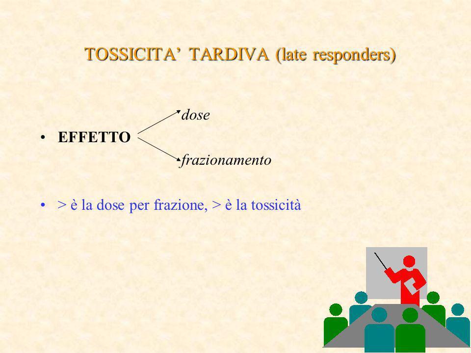 TOSSICITA TARDIVA (late responders) dose EFFETTO frazionamento > è la dose per frazione, > è la tossicità