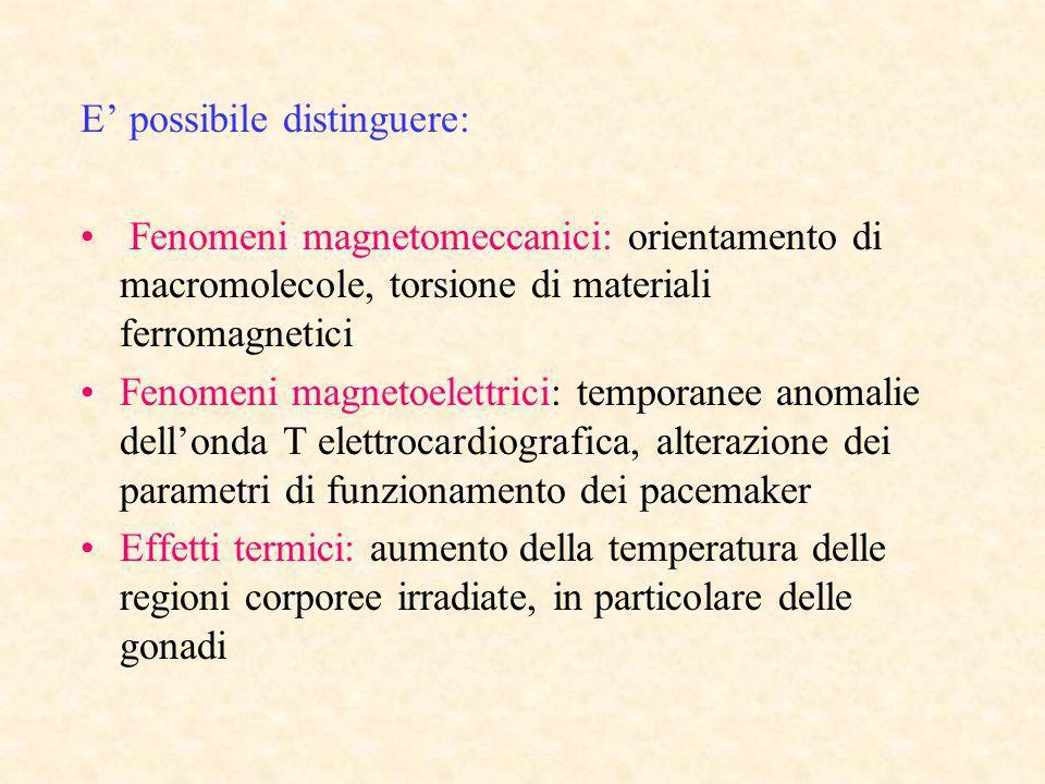 E possibile distinguere: Fenomeni magnetomeccanici: orientamento di macromolecole, torsione di materiali ferromagnetici Fenomeni magnetoelettrici: tem