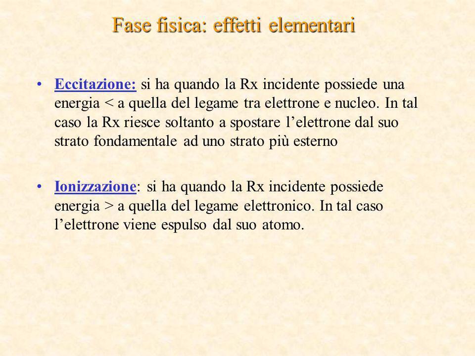 Fase fisica: effetti elementari Eccitazione: si ha quando la Rx incidente possiede una energia < a quella del legame tra elettrone e nucleo. In tal ca