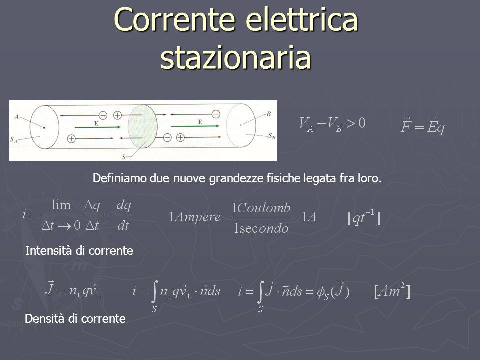 Corrente elettrica stazionaria Definiamo due nuove grandezze fisiche legata fra loro.