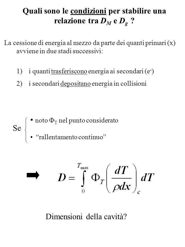 Quali sono le condizioni per stabilire una relazione tra D M e D g ? La cessione di energia al mezzo da parte dei quanti primari (x) avviene in due st