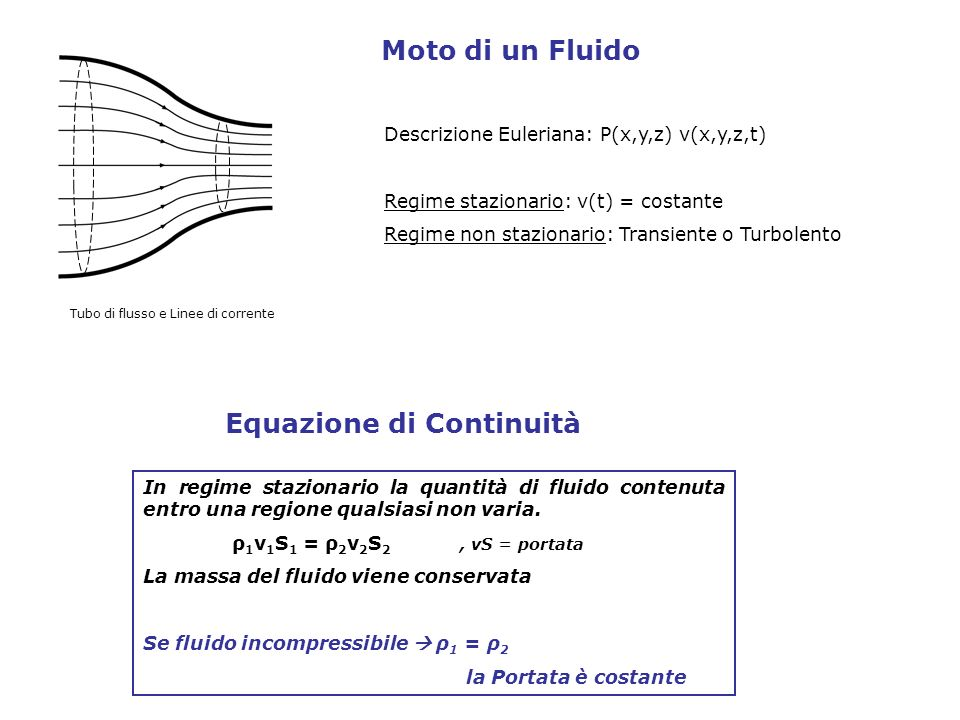 Descrizione Euleriana: P(x,y,z) v(x,y,z,t) Regime stazionario: v(t) = costante Regime non stazionario: Transiente o Turbolento Moto di un Fluido Tubo